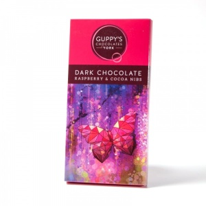 Dark Chocolate with Raspberry and Cocoa Nibs
